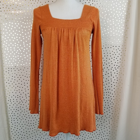 Michael Stars Tops - Michael Stars Square Neck Orange Shimmer Tunic